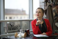 Cute businesswoman outdoor Stock Photography