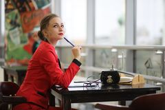 Cute businesswoman outdoor Stock Images