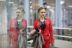 Cute businesswoman outdoor Stock Image