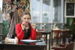 Cute businesswoman outdoor Royalty Free Stock Photos