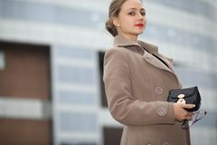 Cute businesswoman outdoor Royalty Free Stock Image
