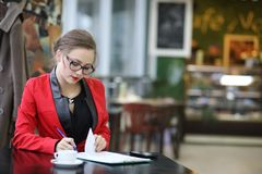 Cute businesswoman outdoor Stock Photo