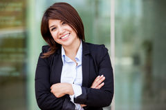 Cute businesswoman outdoors Stock Photo