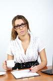 Cute businesswoman planning work Stock Images