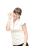 Cute businesswoman posing isolated Stock Photos