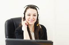 Cute businesswoman talking with clients Stock Image