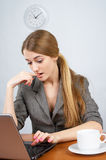 Cute businesswoman working on Royalty Free Stock Images