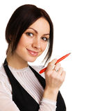 Cute businesswoman writing with a marker Stock Image
