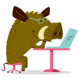 Cute busy boar character. Icon with pig sa office worker manage. Cute busy boar character . Vector illustration with wild warthog. Icon with pig sa office worker stock illustration
