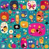 Cute butterflies beetles snails bees flowers cartoon nature pattern. Design stock illustration