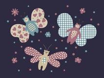 Cute butterflies. Cute cartoon butterflies illustration set Stock Photo