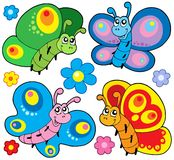 Cute butterflies collection Stock Images