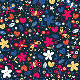 Cute butterflies, hearts and flowers pattern Stock Photography