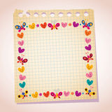 Cute butterflies and hearts frame note paper cartoon illustration Stock Images