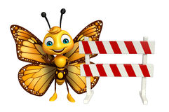 cute Butterfly cartoon character with baracade Stock Image