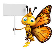 cute Butterfly cartoon character with board Stock Image