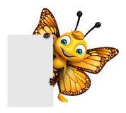 cute Butterfly cartoon character with board Stock Images