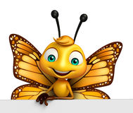 cute Butterfly cartoon character with board Royalty Free Stock Photos