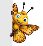 cute Butterfly cartoon character with board Stock Photo