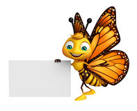 cute Butterfly cartoon character with board Stock Photography