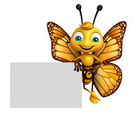 cute Butterfly cartoon character with board Stock Photos