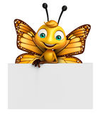 Cute Butterfly cartoon character with board. 3d rendered illustration of Butterfly cartoon character with board Stock Image