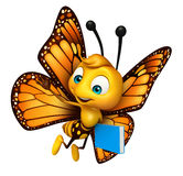 cute Butterfly cartoon character with books Royalty Free Stock Photography