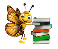 cute Butterfly cartoon character with books Stock Images