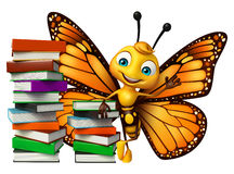 Cute Butterfly cartoon character with books. 3d rendered illustration of Butterfly cartoon character with books Stock Photo