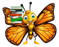 Cute Butterfly cartoon character with books. 3d rendered illustration of Butterfly cartoon character with books Stock Photography