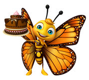 Cute Butterfly cartoon character with cake Royalty Free Stock Photo