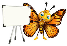 cute Butterfly cartoon character with display  board Royalty Free Stock Photo