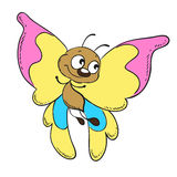 Cute butterfly cartoon character  illustration. Funny cartoon character butterfly with coloured wings Stock Photo
