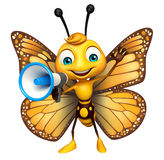 Cute Butterfly cartoon character with loud speaker Stock Images