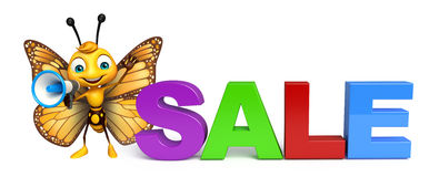 Cute Butterfly cartoon character with sale sign and loud speaker Stock Image