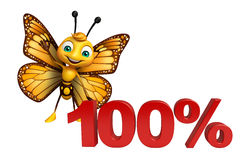 Cute Butterfly cartoon character with 100% sign. 3d rendered illustration of Butterfly cartoon character with 100% sign Royalty Free Stock Photo