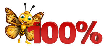 Cute Butterfly cartoon character with 100% sign. 3d rendered illustration of Butterfly cartoon character with 100% sign Stock Photography