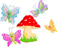 Cute butterfly cartoon with red mushroom Royalty Free Stock Photography