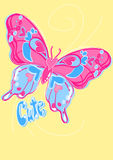 Cute butterfly embroidery on a yellow background Royalty Free Stock Images
