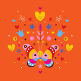 Cute butterfly, hearts and flowers Royalty Free Stock Photo