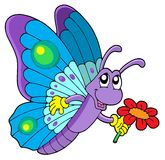 Cute butterfly holding flower Royalty Free Stock Photography