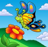 Cute butterfly with red flower Stock Photo