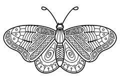Cute butterfly. Vector illustration of cute ornate zentangle butterfly for children or for adult anti stress coloring book Royalty Free Stock Photo
