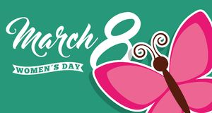 Cute butterfly womens day 8 march card. Vector illustration Stock Images