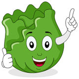 Cute Cabbage Character with Thumbs Up Stock Image