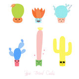 Cute cacti with different faces Stock Image