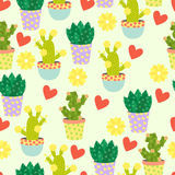 Cute cacti, flowerpots. Seamless pattern with cute cacti. Nature,spring. Cute illustration. Stock Photo