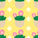 Cute cacti, flowerpots. Seamless pattern with cute cacti. Nature,spring. Cute illustration. Royalty Free Stock Photo