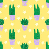 Cute cacti, flowerpots. Seamless pattern with cute cacti. Nature,spring. Cute illustration. Stock Photos