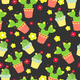 Cute cacti, flowerpots. Seamless pattern with cute cacti. Nature,spring. Cute illustration. Royalty Free Stock Photography